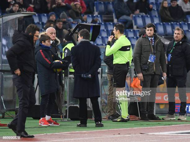 the referee Antonio Damato assigns the penalty after seeing the VAR during the Italian Serie A football match between AS Roma and Cagliari at the...