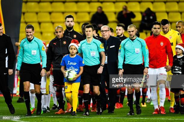 The referee Benoit Bastien and his assistants Frederic Haquette and Julien Pacelli during the Ligue 1 match between AS Monaco and Stade Rennais at...