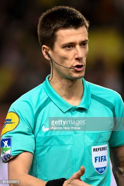 The referee Benoit Bastien during the Ligue 1 match between AS Monaco and Lyon at Stade Louis II on February 4 2018 in Monaco