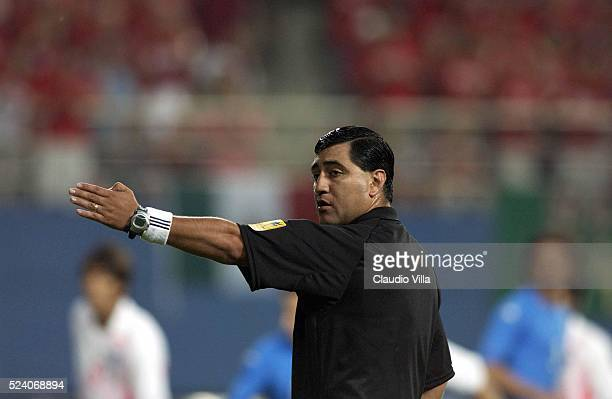 The referee Byron Moreno during the South Korea v Italy, World Cup Second Round match played at the Daejeon World Cup Stadium, Daejeon, South Korea...