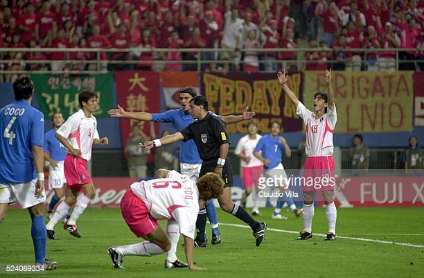 The referee Byron Moreno gives a penalty to South Korea during the South Korea v Italy World Cup Second Round match played at the Daejeon World Cup...