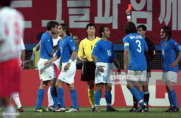The referee Byron Moreno gives the red card to Francesco Totti of Italy during the South Korea v Italy, World Cup Second Round match played at the...