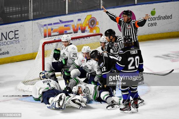 The referee calls no goal in a game between the Seattle Thunderbirds and Victoria Royals at the accesso ShoWare Center on March 08 2019 in Kent...