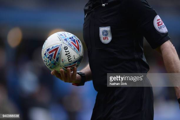The referee carries the Mitre match ball during the Sky Bet Championship match between Birmingham City and Ipswich Town at St Andrews on March 31...