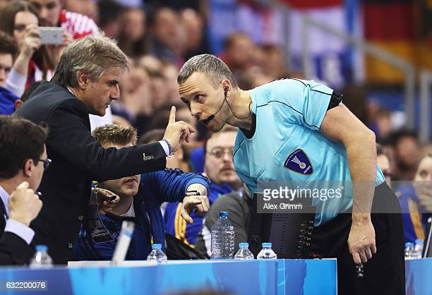 The referee checks a video replay during the 25th IHF Men's World Championship 2017 match between Germany and Croatia at Kindarena on January 20 2017...