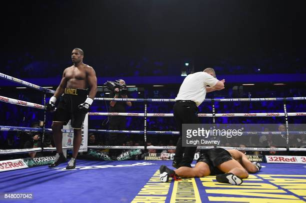 The referee counts AJ Carter out after Daniel Dubois knocked him out at Copper Box Arena on September 16 2017 in London England