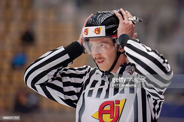 The referee during the Champions Hockey League round of eight game between HV71 Jonkoping and Espoo Blues on November 10, 2015 in Jonkoping, Sweden.