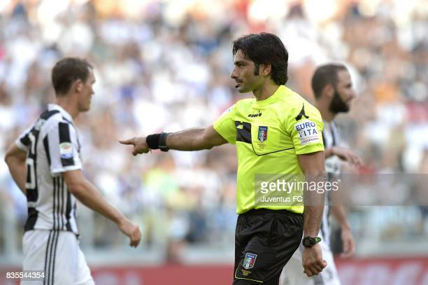 The referee Fabio Maresca concedes a penalty to Cagliari after reviewing the play with the VAR during the Serie A match between Juventus and Cagliari...