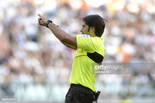 The referee Fabio Maresca decides to review the play with the VAR during the Serie A match between Juventus and Cagliari Calcio at Allianz Stadium on...