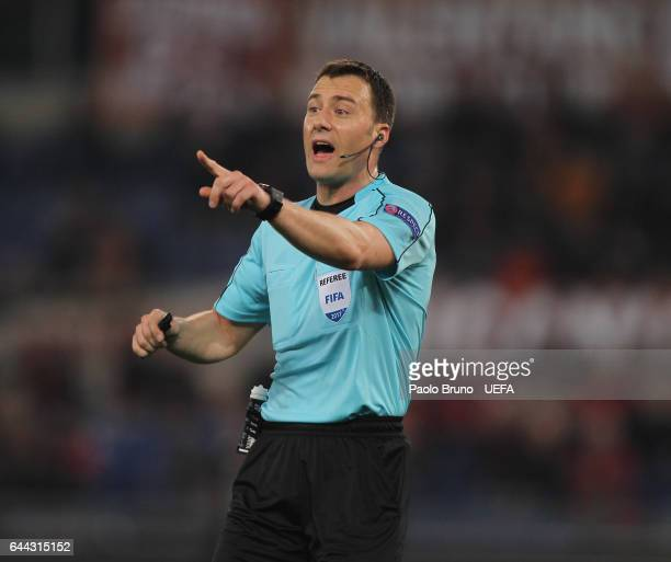 The referee Felix Zwayer gestures during the UEFA Europa League Round of 32 second leg match between AS Roma and FC Villarreal at Stadio Olimpico on...