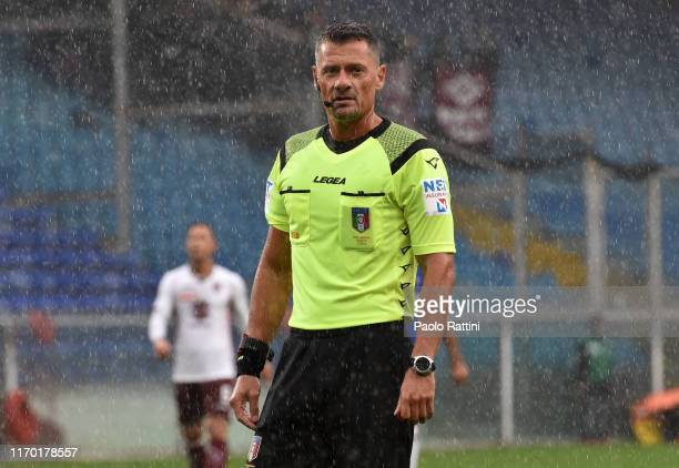 The referee Giacomelli during the Serie A match between UC Sampdoria and Torino FC at Stadio Luigi Ferraris on September 22, 2019 in Genoa, Italy.