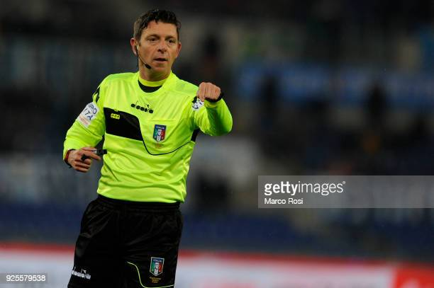 The referee Gianluca Rocchi during the TIM Cup match between SS Lazio and AC Milan at Olimpico Stadium on February 28 2018 in Rome Italy