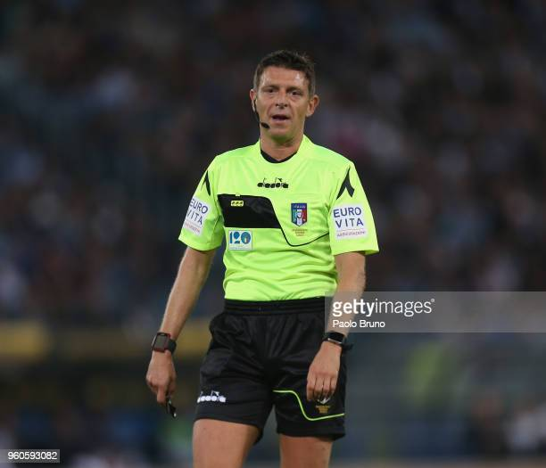 The referee Gianluca Rocchi looks on during the Serie A match between SS Lazio and FC Internazionale at Stadio Olimpico on May 20 2018 in Rome Italy