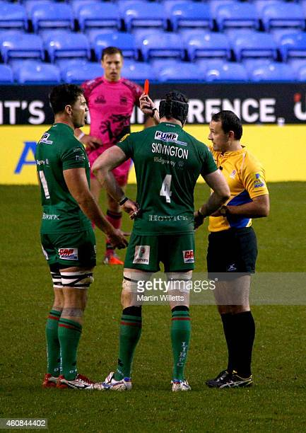 The referee Greg Garner shows a red card to Daniel Leo of London Irish during the Aviva Premiership match between London Irish and London Welsh at...