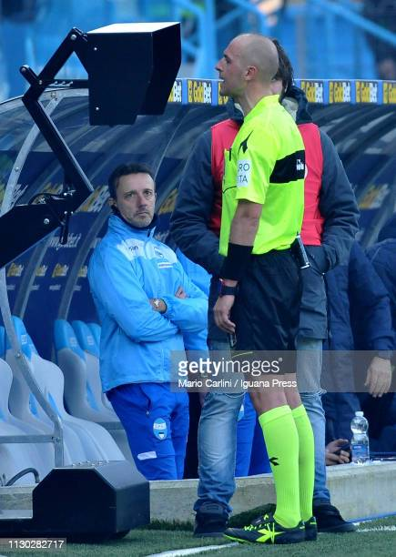The referee is called to check the VAR during the Serie A match between SPAL and ACF Fiorentina at Stadio Paolo Mazza on February 17 2019 in Ferrara...