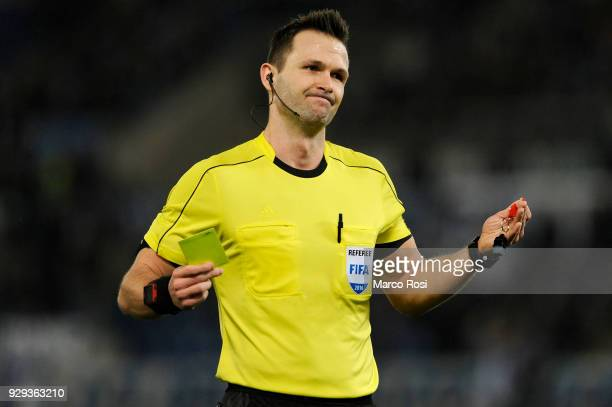 The referee Ivan Kruzliak during UEFA Europa League Round of 16 match between Lazio and Dynamo Kiev at the Stadio Olimpico on March 8 2018 in Rome...