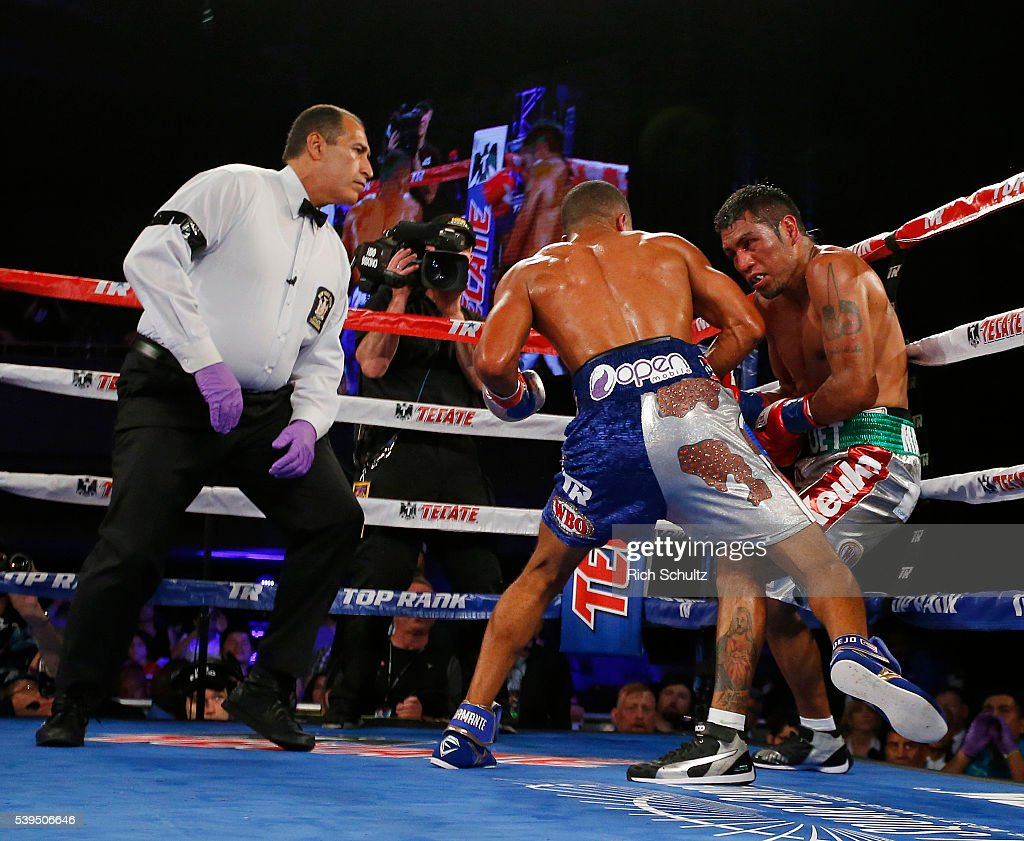 The referee looks on as Felix Verdjo punches Juan Jose Martinez against the ropes in the fifth round of their Lightweight bout on June 11, 2016 at the Theater at Madison Square Garden in New York City. Verdjo won by a TKO.