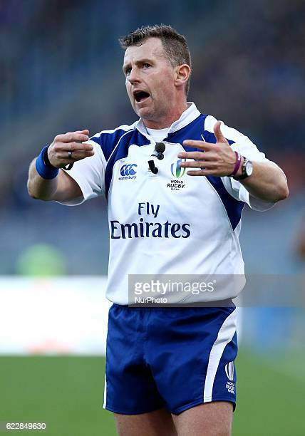 The referee Nigel Owens during the international rugby match between New Zealand and Italy at Stadio Olimpico on November 12 2016 in Rome Italy