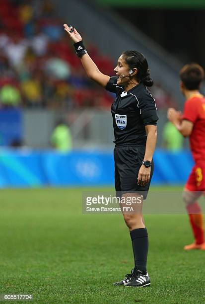 The Referee Olga Miranda gives a decision during the Women's First Round Group E match between China PR and Sweden on Day 4 of the Rio 2016 Olympic...