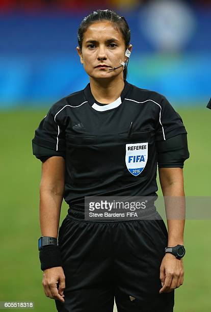 The Referee Olga Miranda prior to the Women's First Round Group E match between China PR and Sweden on Day 4 of the Rio 2016 Olympic Games at Mane...