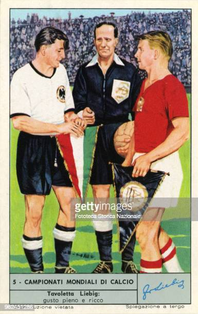 The referee Orlandini among the captains of the finalists in Bern 1954. West Germany World champions, Hungary, second place. Photoengraving, Liebig...