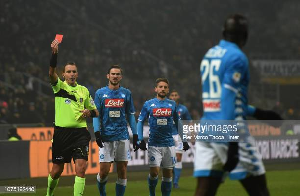 The referee Paolo Silvio Mazzoleni shows the red card at Kalidou Koulibaly during the Serie A match between FC Internazionale and SSC Napoli at...