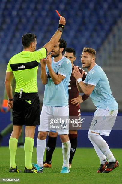 The referee Piero Giacomelli show the red card to Ciro Immobile of SS Lazio during the Serie A match between SS Lazio and Torino FC at Stadio...