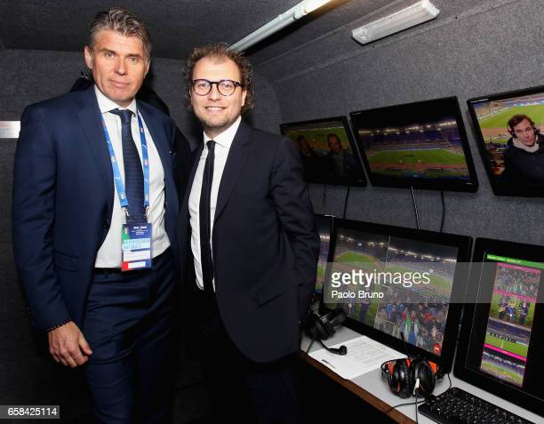 The Referee Roberto Rosetti and Italian Sport Minister Luca Lotti pose in the VAR monitor studio before the international friendly match between...