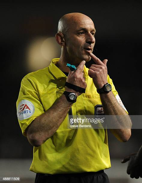 The referee Roger East during the Sky Bet Championship Play Off semi final first leg match between Brighton Hove Albion and Derby County at Amex...