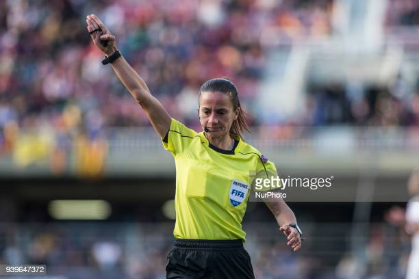 The referee Sandra Bastos during UEFA Women's Champions League 2nd leg match fo quartersfinals between FC Barcelona v Olympique de Lyon at Mini...