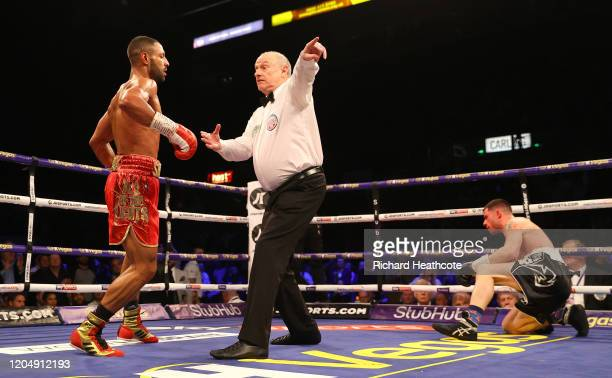 The referee sends Kell Brook to the corner after knocking down Mark DeLuca during the WBO Intercontiental SuperWelterweight Title Fight between Kell...