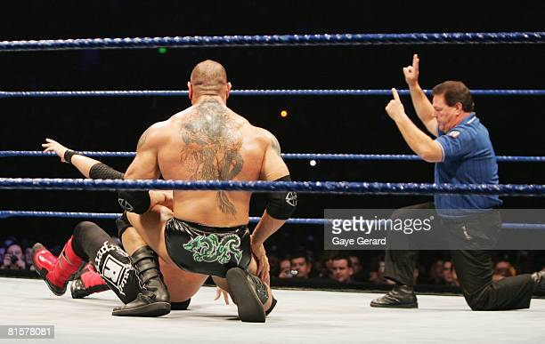 The referee signals a two count after Batista tried to pin World Heavyweight Champion Edge during WWE Smackdown at Acer Arena on June 15 2008 in...