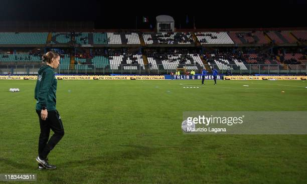 The referee Stephanie Frappart during a pitch inspection ahead of the UEFA U21 European Championship Qualifier match between Italy and Armenia at...