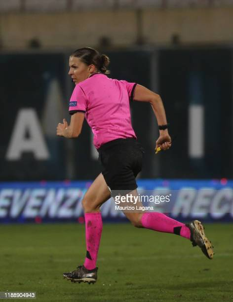 The referee Stephanie Frappart the UEFA U21 European Championship Qualifier match between Italy and Armenia at Stadio Angelo Massimino on November 19...