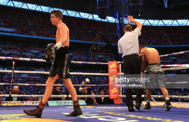 The referee stops the fight as Luke Campbell is awarded victory over Darleys Perez in the WBA Leightweight Eliminator bout at Wembley Stadium on...