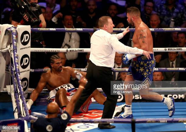 The referee stops the fight as Tony Bellew punches David Haye during Heavyweight fight between Tony Bellew and David Haye at The O2 Arena on May 5,...
