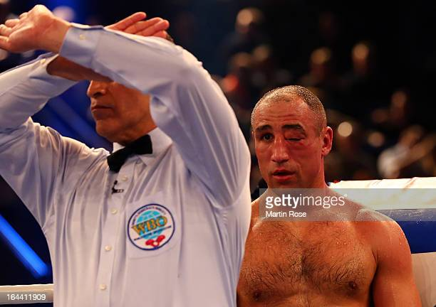 The referee stops the fight between Robert Stieglitz of Germany and Arthur Abraham during the WBO World Championship Super Middleweight title fight...