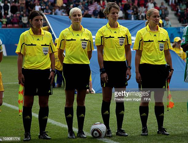The referee team Anna Nystrom Karolina RadzikJohan Alexandra Ihringova and Katrin Rafalski pose during the FIFA U20 Women's World Cup Quarter Final...