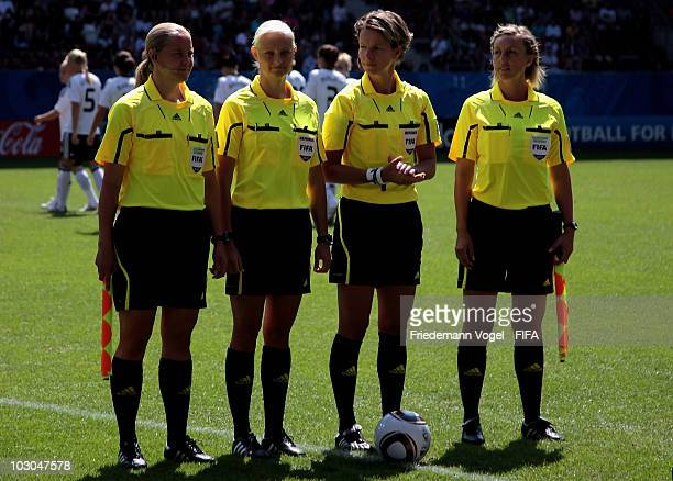 The Referee team Helen Karo Karolina RadzikJohan Alexandra Ihringova and Anna Nystrom poses during the FIFA U20 Women's World Cup Group A match...