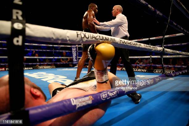 The referee tells Daniel Dubois to go to the corner after he knocked down Nathan Gorman during the British Heavyweight Title fight between Daniel...