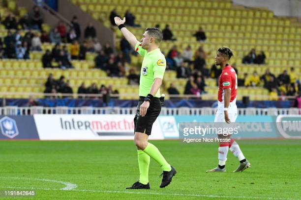 The referee Willy DELAJOD during the French Cup match between AS Monaco and Reims on January 4 2020 in Monaco Monaco