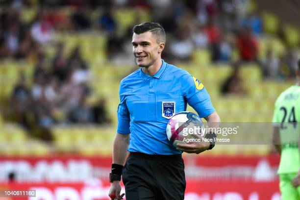 The referee Willy Delajod during the Ligue 1 match between Monaco and Angers at Stade Louis II on September 25 2018 in Monaco Monaco