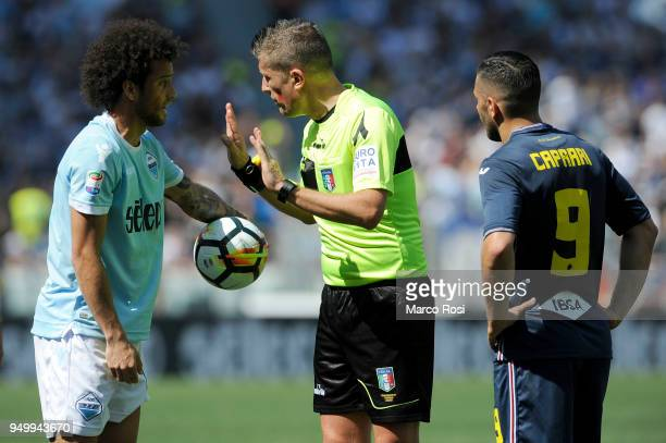 The refereee Danile Orsato and Felipe Anderson of SS lazio during the serie A match between SS Lazio and UC Sampdoria at Stadio Olimpico on April 22...