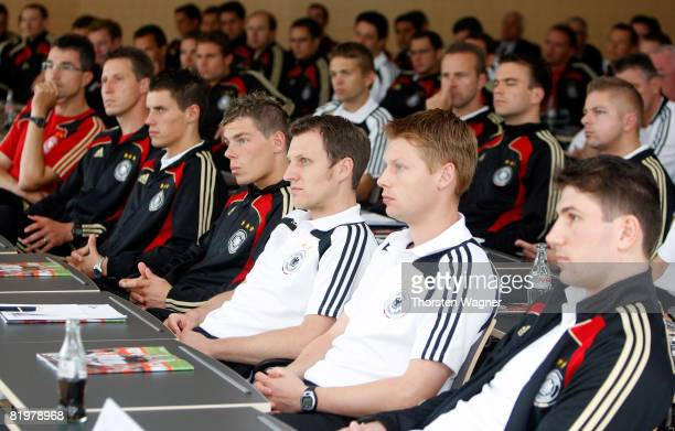 The referees and guests listen to Dr Rainer Koch VicePresident of German Football Association during the referee meeting press conference at the...