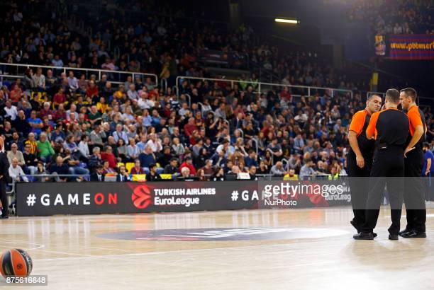 the referees and the ball during the match between FC Barcelona v Anadolou Efes corresponding to the week 8 of the basketball Euroleague in Barcelona...