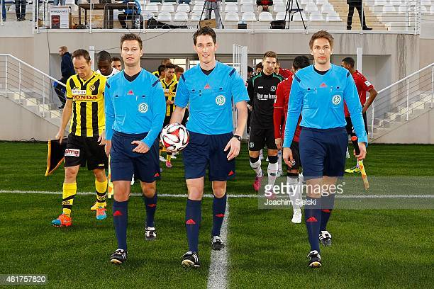 The Referees Daniel Schlager Matthias Joellenbeck and Tobias Reichel during a friendly match between Young Boys Bern and Hannover 96 on January 17...
