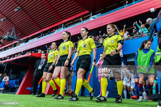 The referees during the match between FC Barcelona and Madrid CFF corresponding to the week 21 of the Liga Iberdrola played at the Johan Cruyff...
