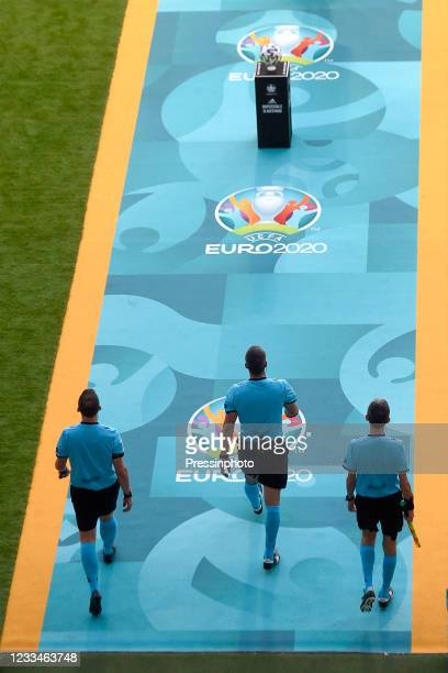 The referees during the match between Spain and Sweden of Euro 2020, group E, matchday 1, played at La Cartuja Stadium on June 14, 2021 in Sevilla,...