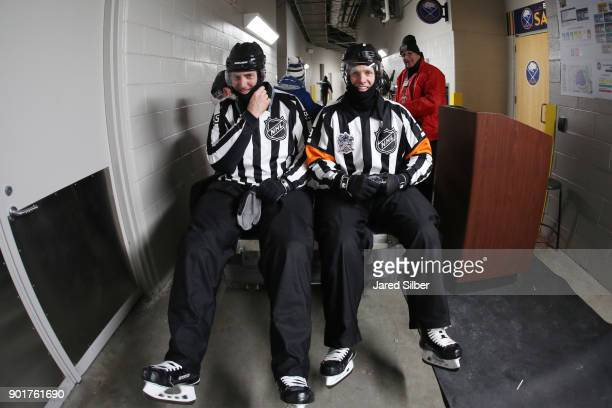 The referees get a ride to the ice before the New York Rangers and Buffalo Sabres play during the 2018 Bridgestone NHL Winter Classic at Citi Field...