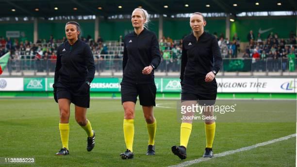 The Referees Lisa Rashid Lina Lehtovaara and Kylie Mcmullen before the UEFA Women's Champions League Quarter Final Second Leg match between Wolfsburg...
